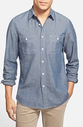 Men's Big And Tall Wallin And Bros. 'Workwear' Trim Fit Chambray Sport Shirt Blue