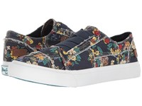 Blowfish Marley Navy Japanese Floral Canvas Women's Flat Shoes Multi
