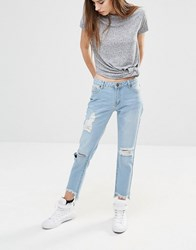 Liquor And Poker Stepped Hem Ankle Grazer Boyfriend Jeans With Distressing Mid Wash Blue