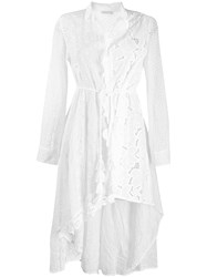 Anjuna Asymmetric Broderie Anglaise Shirt Dress White