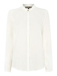 Biba Harry Logo Button Detailed Shirt In Luxe Fabric White