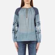 Maison Scotch Women's Sheer Cotton Tunic Top With Special Embroideries Blue