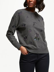 Barbour Evelyn Embroidered Sweatshirt Grey Charcoal