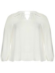 Threads Plus Size Star Cut Out Sheer Blouse White