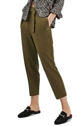 Topshop Women's Slider Utility Peg Trousers Olive