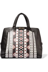 Just Cavalli Printed Leather Tote Black