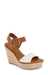 Sarto By Franco Sarto Women's 'Carlazzo' Platform Wedge Sandal White Tan Leather
