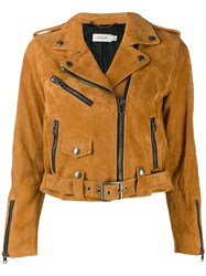 Coach Cropped Leather Jacket Brown