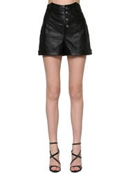 Saint Laurent Western Waist Leather Shorts Black