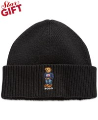 Polo Ralph Lauren Ribbed Embroidered Bear Hat Polo Black