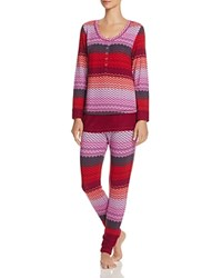 Josie Stripe Fireside Henley Pajama Set Red Red