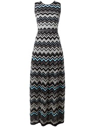 Missoni Zig Zag Pattern Long Dress Black