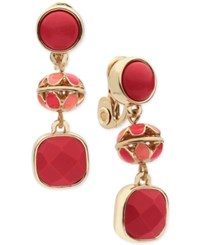 Anne Klein Gold Tone Red Stone Clip On Drop Earrings
