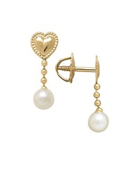 Lord And Taylor 3Mm White Freshwater Pearl 14K Yellow Gold Drop Earrings