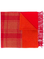 Luisa Cerano Checked Scarf Red