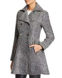 Laundry By Shelli Segal Fit And Flare Double Breasted Coat Black Grey