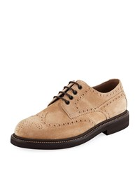 Brunello Cucinelli Brogue Lace Up Shoes Light Brown