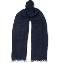 Begg And Co Filigree Fringed Cashmere Gauze Scarf Midnight Blue