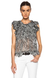 Isabel Marant Marcia Pleated Chiffon Silk Top In Black White Abstract