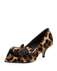 N 21 Knotted Fur Slip On Pumps Leopard