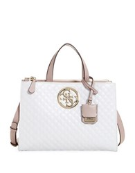 Guess G Lux Quilted Satchel White