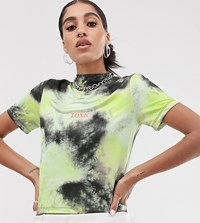 The Ragged Priest High Neck Crop Top In Tie Dye Green