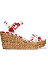 Dolce And Gabbana Sandalo Coated Floral Print Leather Wedge Sandals White