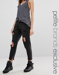 Liquor And Poker Petite Skinny Jeans With Extreme Distressing Ripped Knees Black