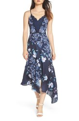 Harlyn Mixed Print Asymmetrical Dress Navy Blue