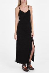Jessie Western Suede Fringe Long Dress Black