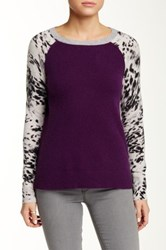 Sofia Cashmere Animal Print Sleeve Cashmere Sweater Purple