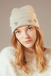Urban Outfitters Embellished Double Knit Essential Beanie Grey