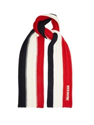 Moncler Tricolour Ribbed Knit Wool Scarf Red