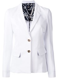 Class Roberto Cavalli Tailored Blazer Women Silk Cotton Spandex Elastane Polyimide 40 White