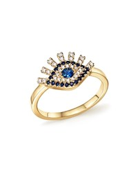 Bloomingdale's Sapphire And Diamond Evil Eye Ring In 14K Yellow Gold