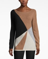 Charter Club Cashmere Colorblocked Sweater Only At Macy's Heather Birch