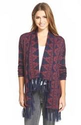 Women's Caslon Fringed Open Front Cardigan