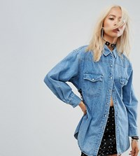 Milk It Vintage Denim Festival Shirt With Lace Up Side Blue