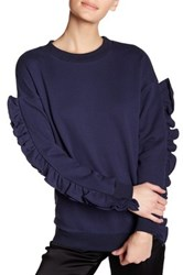 Tov Drop Shoulder Sweater With Ruffle Sleeves Blue