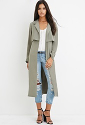 Forever 21 Draped Trench Coat Olive