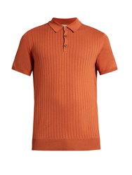 Editions M.R Ribbed Knit Cotton Polo Shirt Brown