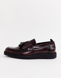 Fred Perry George Cox Loafers In Oxblood Red