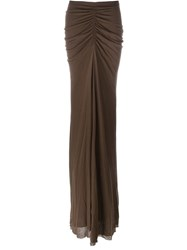 Rick Owens Lilies Draped Long Skirt Brown