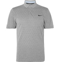 Nike Golf Sli Fit Printed Dri Fit Pique Polo Shirt Gray