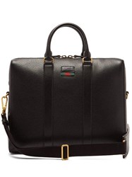 Gucci Web Stripe Leather Briefcase Black