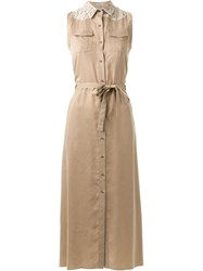 Guild Prime Sleeveless Maxi Shirt Dress Brown