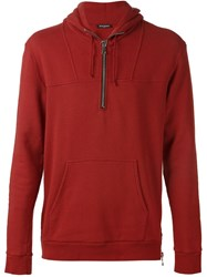 Balmain Side Zip Hoodie Red