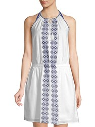 Beach Lunch Lounge Embroidered Cotton Dress White