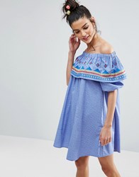 Asos Geo Tribal Embroidered Off Shoulder Sundress On Check Cotton Blue