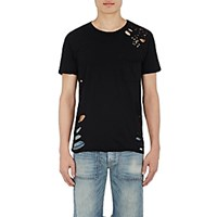 Nsf Men's Paulie Destroyed T Shirt Black Blue Black Blue